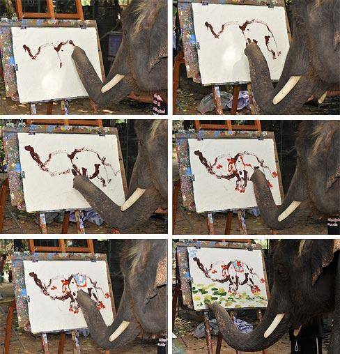 Twitter / TweetSmarter: An elephant painting a picture ...