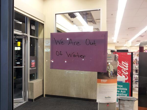 Rite-Aid store in Charleston, West Virginia, out of bottled drinking water.