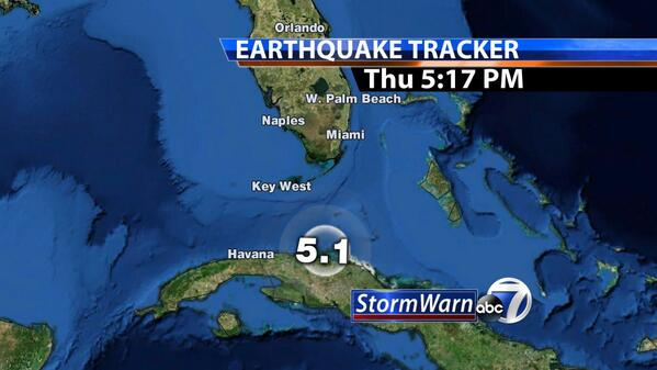 Map of Cuba #Earthquake that occurred before 4pm. #abc7 has the latest right now on the news at 5. #swfl http://t.co/2fh01UWfe2