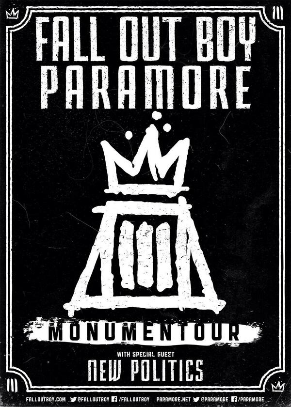 #MONUMENTOUR  Info and dates: http://t.co/GJvIhkRnr7  Paramore + Fall Out Boy http://t.co/yukUbe1x4I