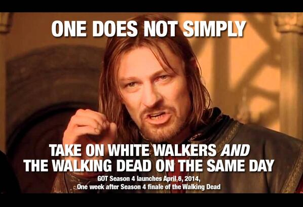 Season 4 of Game of Thrones premieres April 6 – avoids clash with the Walking dead http://t.co/1uZtCTZyPF ~ http://t.co/kzBrj1iUM8