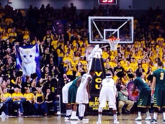 man I love my school, meowing during free throws 😂 #VCU http://t.co/GGHyeN4xwr