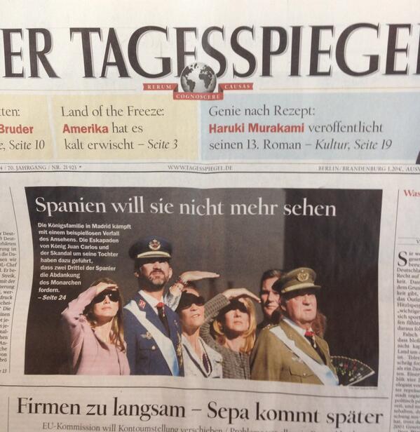 """Portada de hoy de Der Tagesspiegel, de Berlin. Titular: """"España no los quiere ver más"""" #MarcaEspaña http://t.co/LaAWivXLQC"""