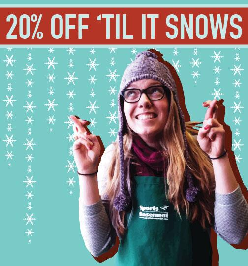 It will snow. It WILL snow! But until it does pretty much everything at SB will be 20% off! http://t.co/Su70rTpsDD http://t.co/lRUXCVMdfq