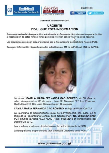 Alerta Activada: Camila María Fernanda Cac Romero http://t.co/eh5KmOlRIy