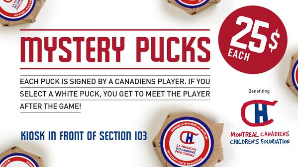 Will you unwrap a white #mysterypuck on Saturday? If you do, you will meet a @CanadiensMTL player after the game<br>http://pic.twitter.com/NGXgj1zduO