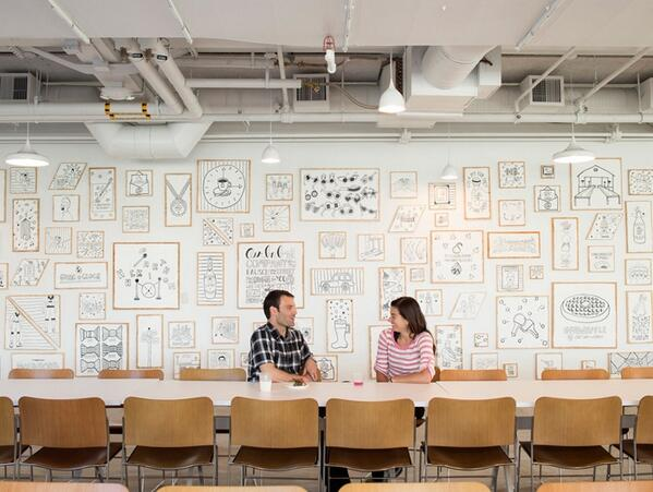 .@TimothyoGoodman's 60-ft wall installation @Airbnb HQ is truly a work(place) of art http://t.co/Pbwbd9Ccps #onDWL http://t.co/I6w0TWRPfm