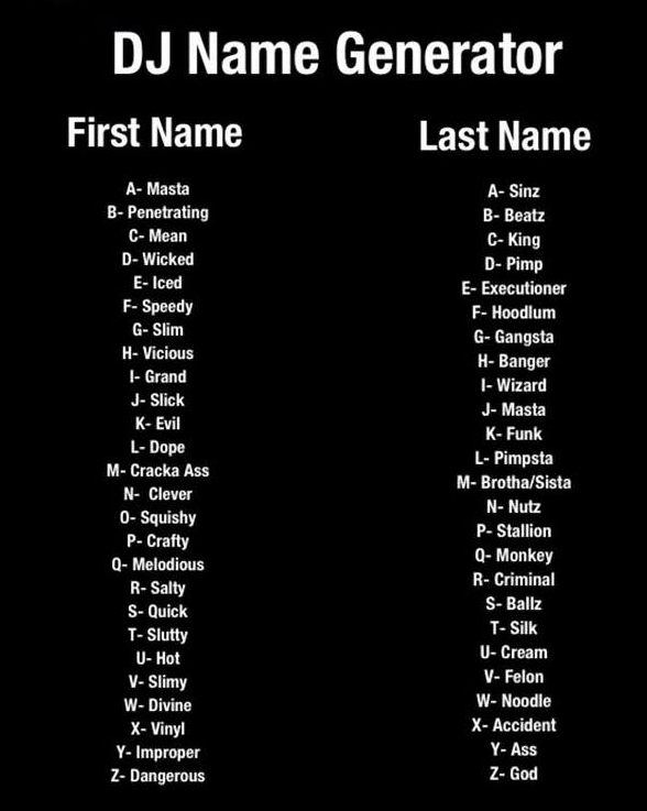 "Timos House on Twitter: ""DJ name Generator #DJ #edm # ..."