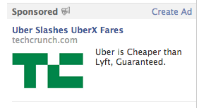 Interesting advertising tactic by Uber: using TechCrunch news as the Facebook ad (links to http://t.co/13rnkBZ9lv) http://t.co/D0Nbz7zk9Y