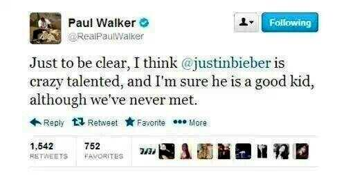 I RT = 1 VOTE Glad to have Paul Walker on our team.   #ExaBeliebers http://t.co/IQF6yXWKdV