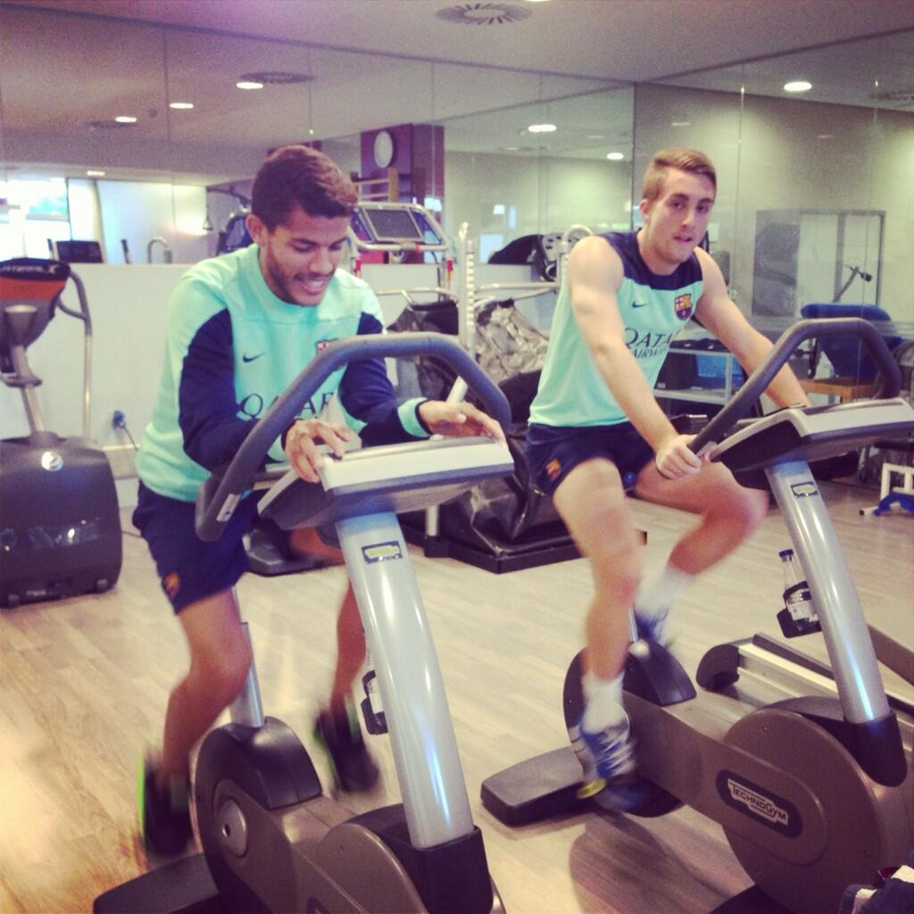 Everton loanee Gerard Deulofeu trains in  Ciutat Esportiva gym dressed in Barcelona training kit