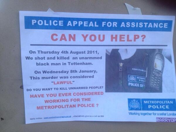 Ok. This did make me laugh but I guess there's a hint of seriousness behind it. Join the MET #Duggan http://t.co/Av5tCLGCfR