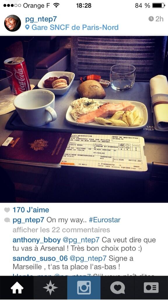 Auxerres Paul Georges Ntep (linked with Arsenal) posts Instagram picture heading to London on the Eurostar