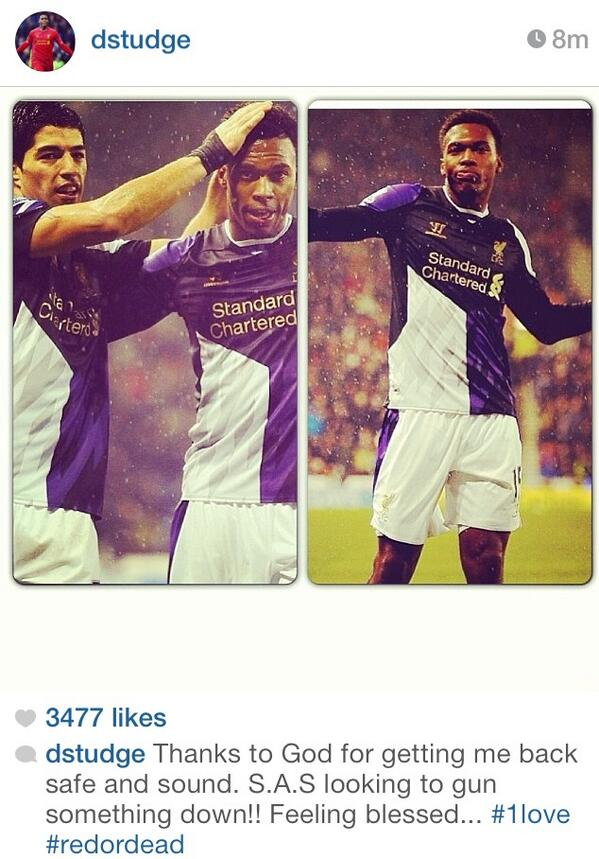 Daniel Sturridge Instagram post 5 3 win: S.A.S. looking to gun something down
