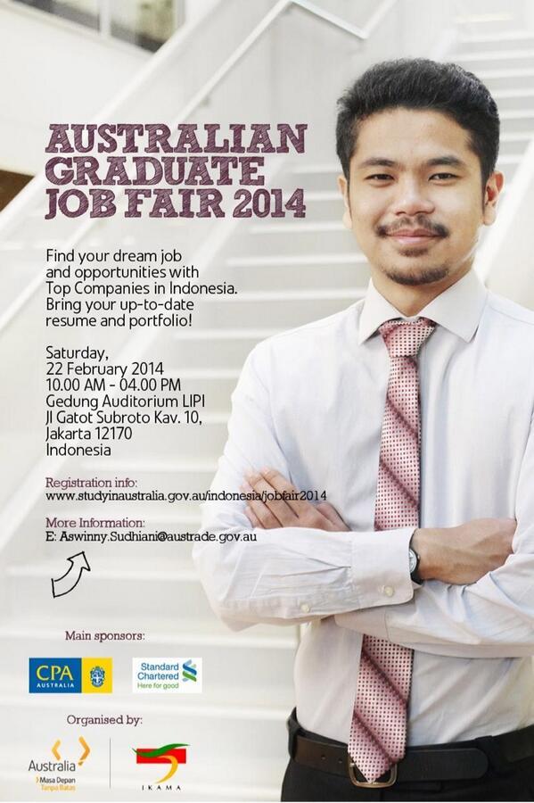 Untuk teman-teman lulusan Australia khususnya di Jakarta, yuk datang ke Australian Graduate Job Fair 2014! http://t.co/5lS3ueJsa8