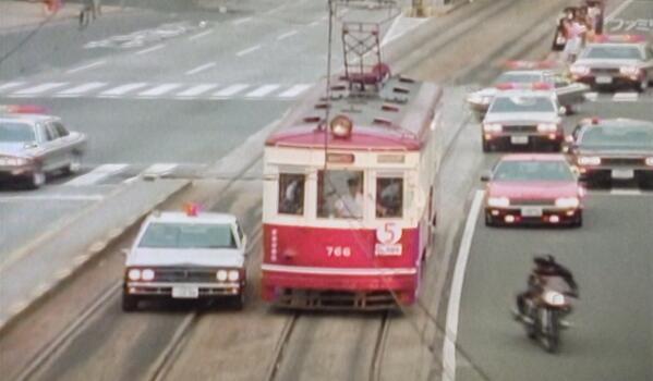 今日のファミ劇、西部警察地方ロケシリーズは、広島。 広島電鉄と、にしき堂が大活躍w http://t.co/3h3qcK83nM