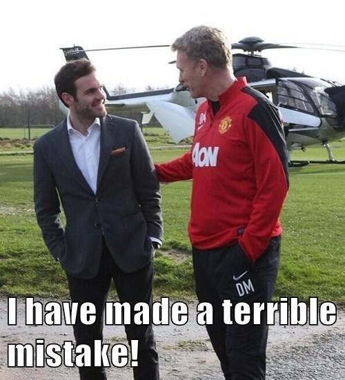 Juan Matas just arrived at United by helicopter and theres already a comedy meme with David Moyes