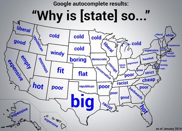 "This is amazing. Map of US based on what Google autocompletes when typing   ""Why is [state] so ..."" http://t.co/S6PDiv3Zga"