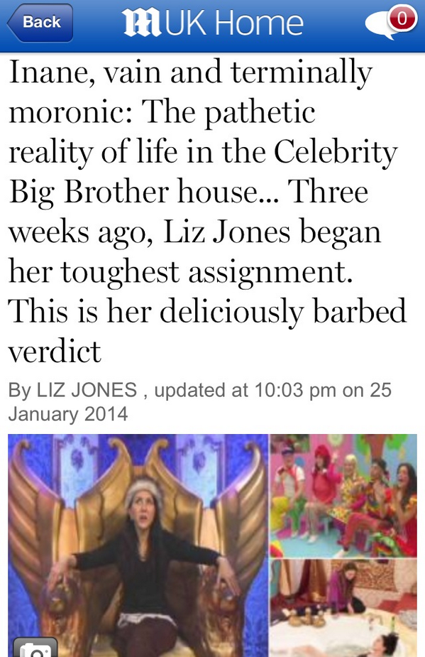 Hey Celebrity Big Brother fans. My article is out http://t.co/ZP0cqfEoii Seriously, fuck you all. http://t.co/iEagrtpAyg