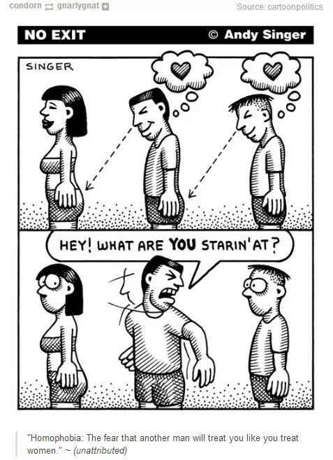 ---------------> RT @GhodaGaadi Homophobia: the fear that another man will treat you like you treat women. http://t.co/7C7gNCnxw8