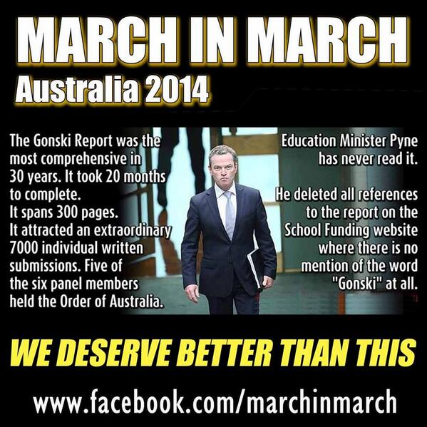 Christopher Pyne.  Elitist, arrogant, self absorbed, wrong. http://t.co/dTr6gfVbOw #marchinmarch http://t.co/RjG8djGNNT