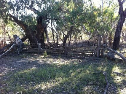 [Pic caption : Fences, constructed with hand hewn local timber, by Aboriginal station workers. #StolenWages.] http://t.co/WPbkxE8bi8