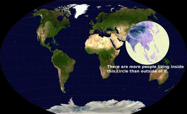 Striking. RT @hinesalmy RT @Amazing_Maps: More people live inside this circle than outside of it http://t.co/F76NtIYSfy