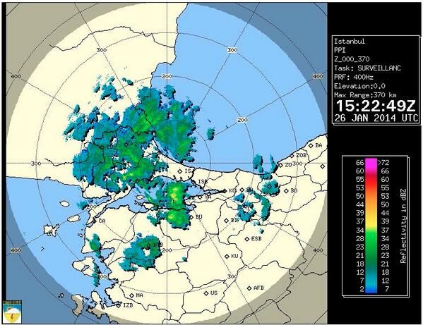 Şu işe bak ya!.. Yağış İstanbul'a kadar gelmiş ama şehrin beton kıyısında durmuş düşünüyor :-)) http://t.co/s5RpOj3Lgy