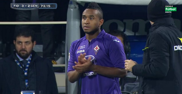 Anderson gets subbed on for his Fiorentina debut