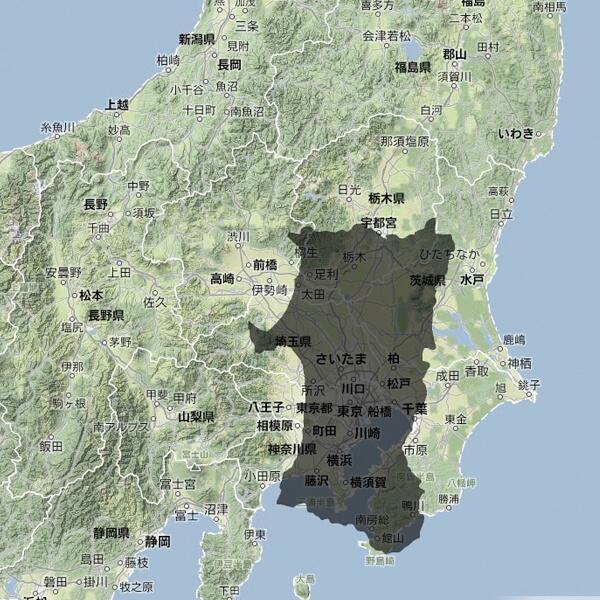 【秋田県民限定情報】 こうして見ると、だいたい関東圏での距離感がわかる。 http://t.co/yBUEJgxDEz
