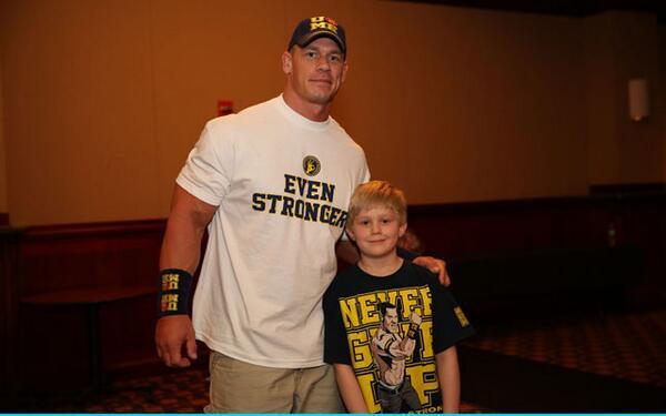 John Cena meeting Make-A-Wish kid, Cole Siegel. @JohnCena @MakeAWish http://t.co/3YQ1Pqv9kT