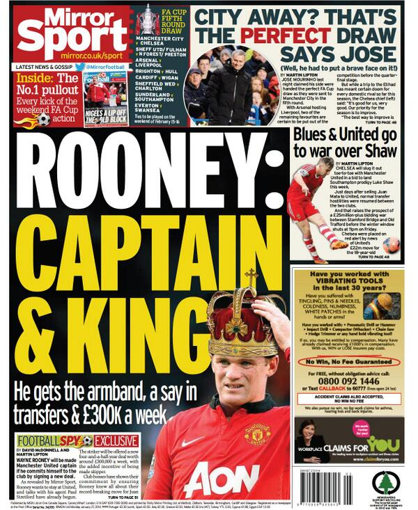 Wayne Rooney to be handed captaincy and £300,000 a week to sign new contract at Man United [Express & Mirror]