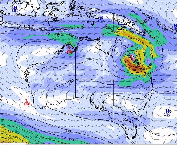 Latest model from GFS for Thursday. Shows a coastal crossing of #TCDylan between the Townsville to Mackay region. http://t.co/THdBmT9Pbx