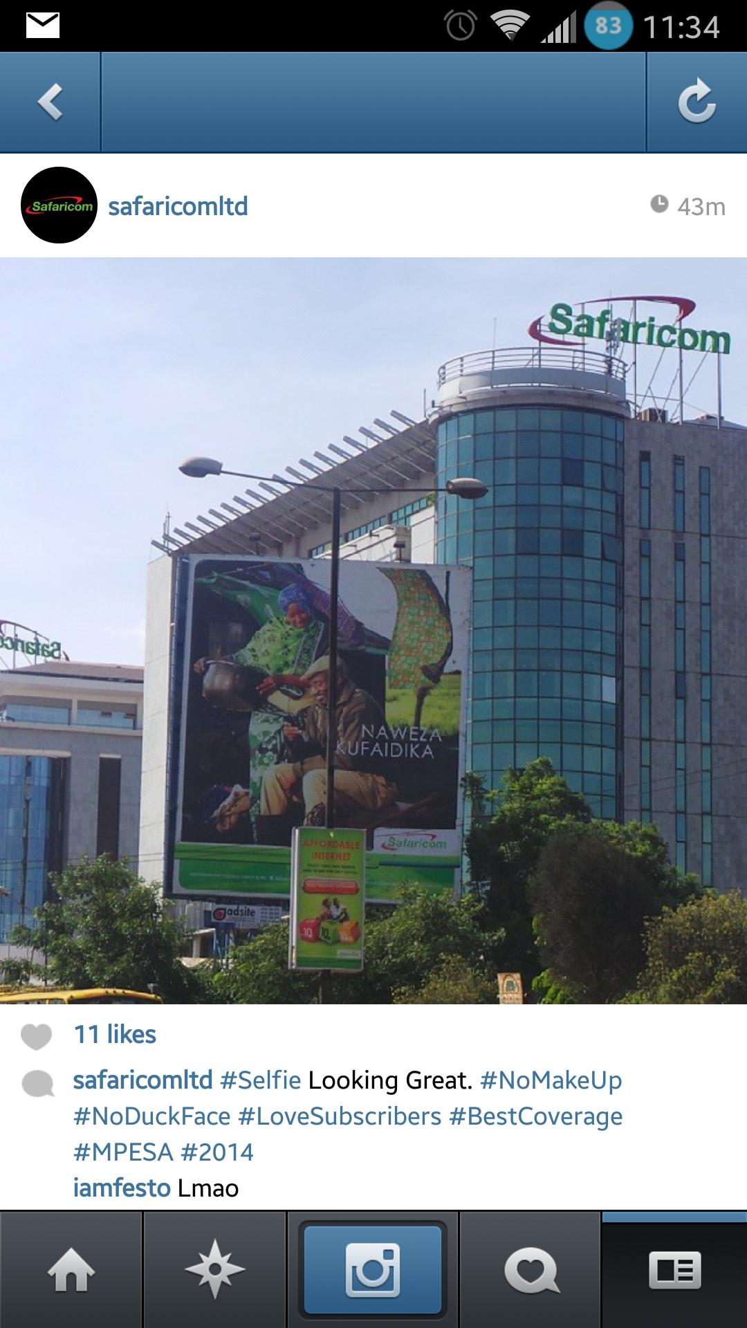 Twitter / SafaricomLtd: Took a Selfie on Instagram. ...