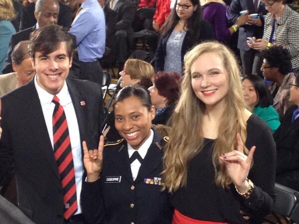 .@alexjonesparker w/Pledge of Allegiance leader Amalia Osborne, national anthem singer Meredith Richardson. #Students http://t.co/kz3Y4ThVkl