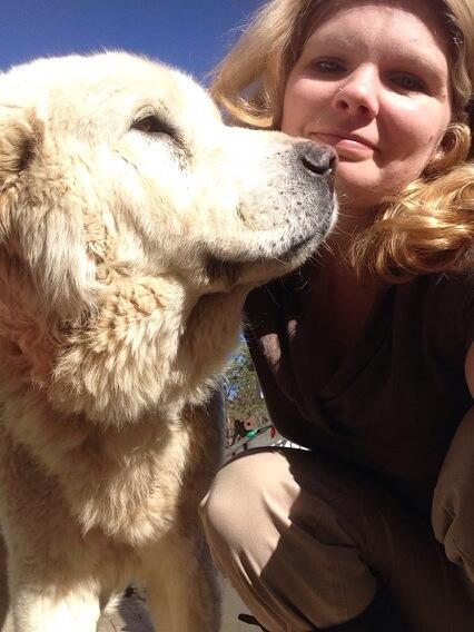 One more #felfie with Cini, the Maremma wonder dog. http://t.co/aYcDbDvMkP