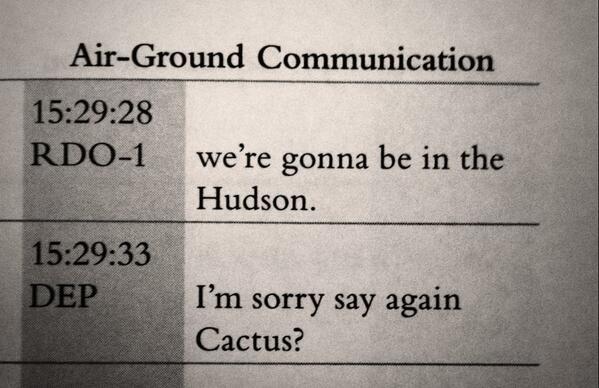 """We're gonna be in the Hudson."" - @Captsully #HighestDuty #Flight1549 #Cactus1549 #Hero http://t.co/IFSdBmVhbN"