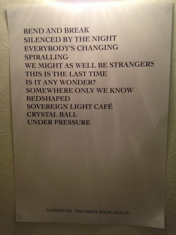 Setlist for tonight's charity event for @NordoffRobins1 via @Richard_H http://t.co/tIjUduLd7i