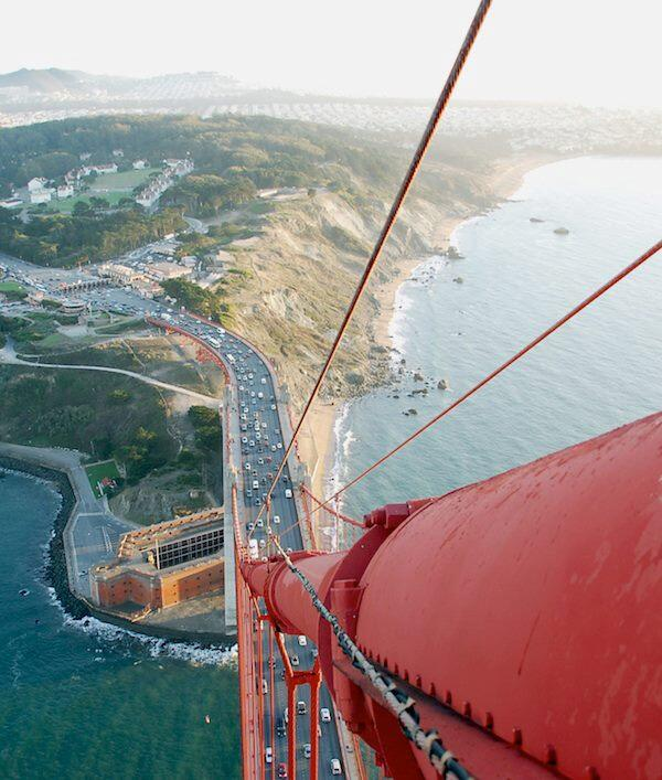 They wouldn't let me tweet my photos like this from the top. RT @iTweetFacts: View From The Golden Gate Bridge http://t.co/udiydYKNKl