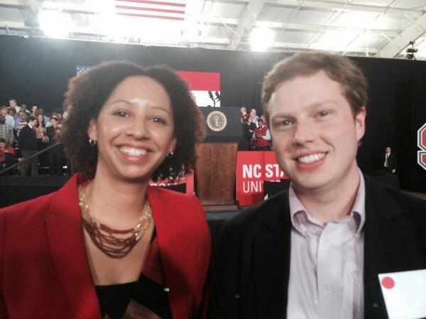 @jyinkathomas and Lynn Clark (MBA '14) attend President Obama's announcement of @ncstate led clean energy consortium. http://t.co/lGixTG14h2