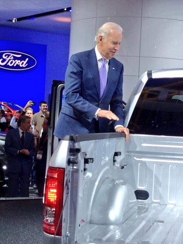 .@vp Joe Biden climbs inside of @FordTrucks F-150 http://t.co/IDwUhrxjLI