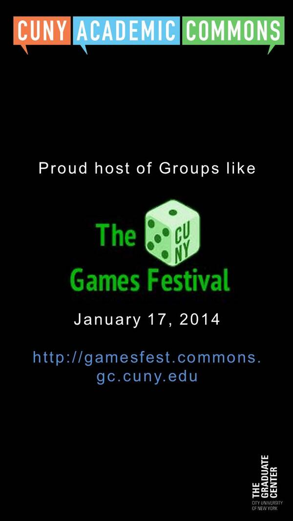 Check out @CunyGames festival! @cunygcdi @cunycommons #cgf2014 http://t.co/T5A6sFLaPD http://t.co/oMZYPBD0ri