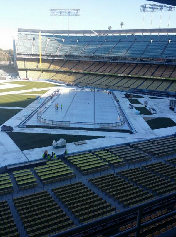 . @dodgers stadium prepping @lakings vs @anaheimducks for 50k #icehockey fanatics! let's hope it's not too warm! http://t.co/hHR5Eu49fG