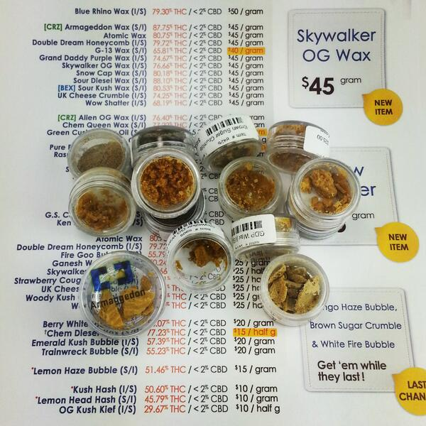 We currently have OVER 45 lab-tested concentrates available right now! Hash starting at only $10gram! http://t.co/gLLa6zf9Lu