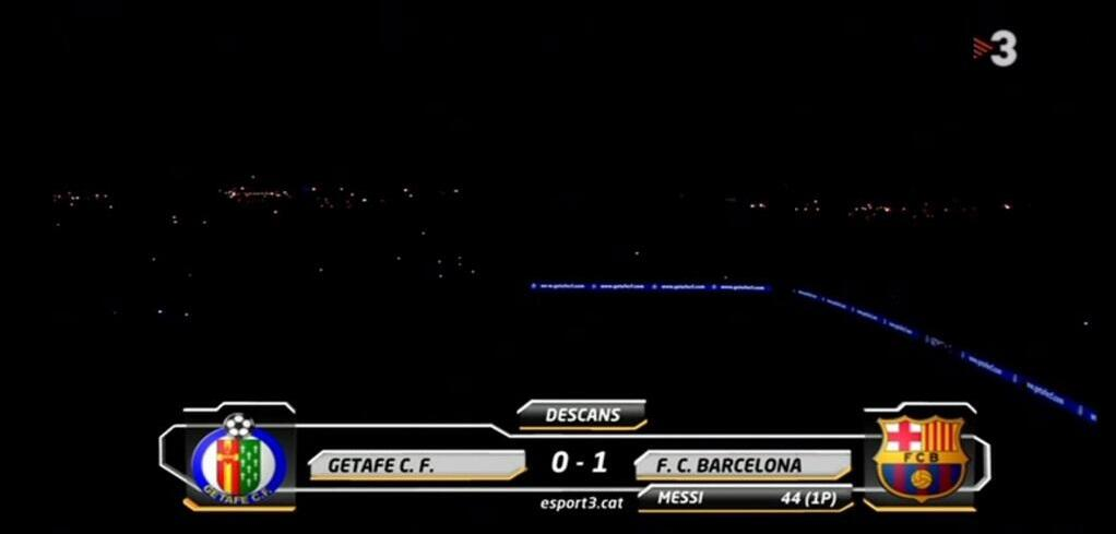 The lights have gone out at half time of Getafe v Barcelona!