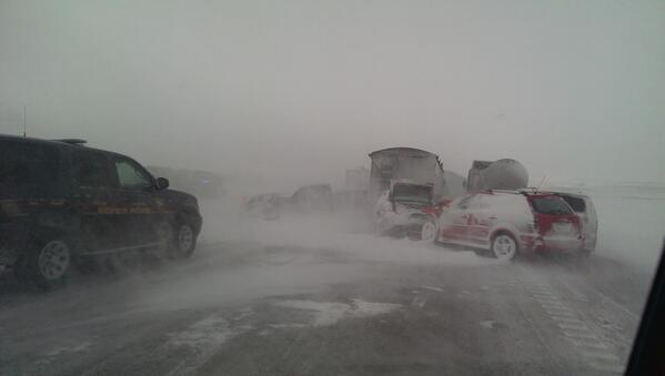 About 20 vehicles were involved in a crash in blizzard conditions west of Sioux Falls. http://t.co/8z8u4tyI83