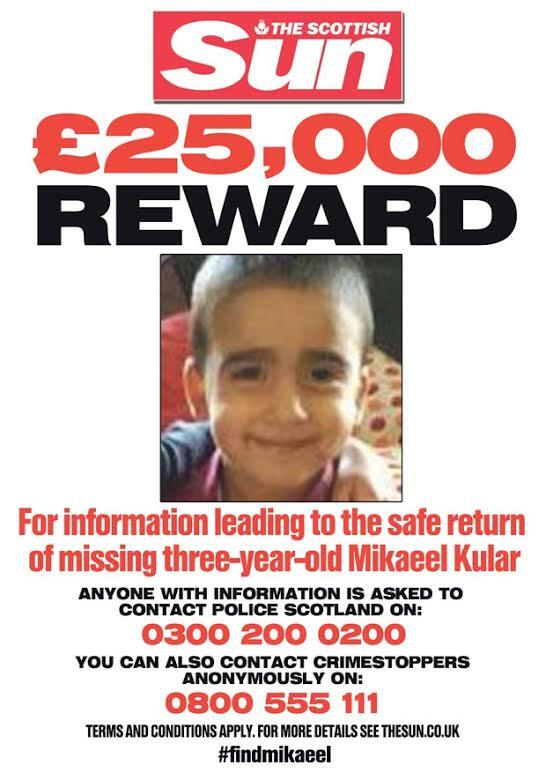 The Scottish Sun today launches a £25,000 appeal to find missing Mikaeel Kular #FindMikaeel http://t.co/jozMKnFnuW http://t.co/obLOujZ4QB