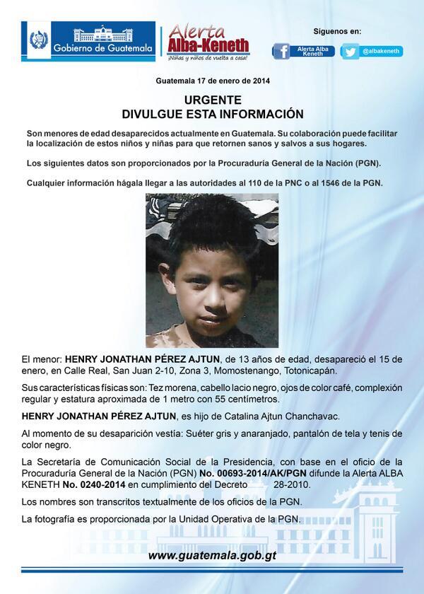 Alerta Activada: Henry Jonathan Pérez Ajtun http://t.co/ctTCEVhcMt