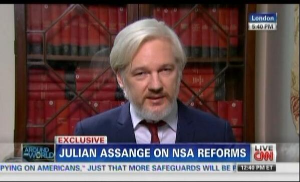 CNN Exclusive interview #HappeningNow RT @SimonOstler: Julian Assange has a beard now. http://t.co/ws9v2r5Qns
