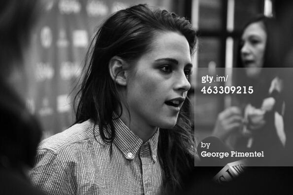 Tagged black/white pic of Kristen at #Sundance and doing an interview on #CampXRayWorldPremiere http://t.co/sL8teLA5Bu